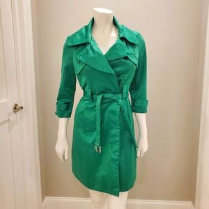Bebe green satin trench coat